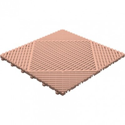 Klickfliese offene Rippenstruktur rund terracotta