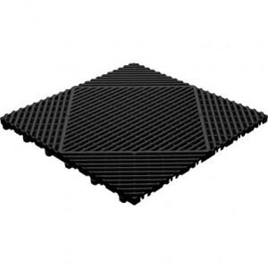 Klickfliese offene Rippenstruktur rund schwarz