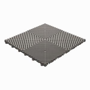 Klickfliese offene Rippenstruktur rund grau-braun
