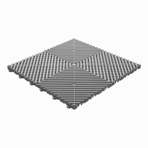 Klickfliese offene Rippenstruktur rund grau-alu