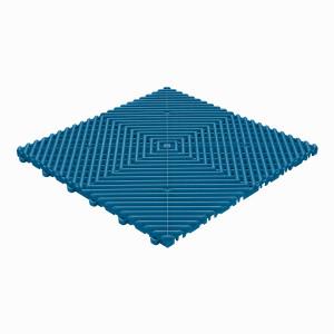Klickfliese offene Rippenstruktur rund blau
