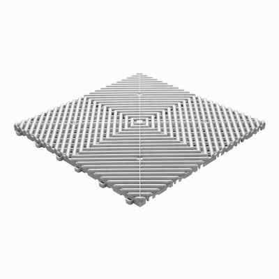 Klickfliese offene Rippenstruktur rund weiss-alu