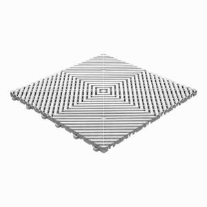 Klickfliese offene Rippenstruktur weiss-alu