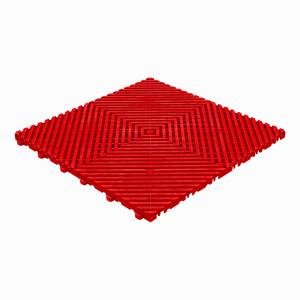 Klickfliese offene Rippenstruktur flach rot