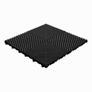 Klickfliese offene Rippenstruktur flach schwarz