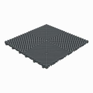 Klickfliese offene Rippenstruktur rund anthrazitgrau
